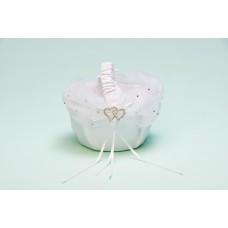 Flower Girl basket white with silver hearts
